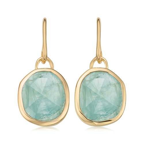 Gold Vermeil Siren Wire Earrings - Aquamarine - Monica Vinader