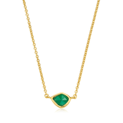 Gold Vermeil Siren Mini Nugget Necklace - Green Onyx - Monica Vinader