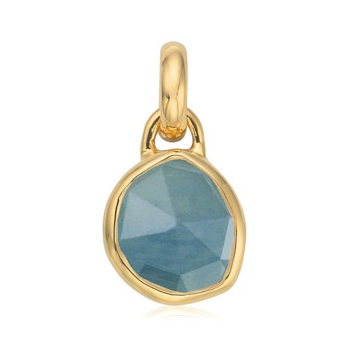 Gold Vermeil Siren Mini Bezel Pendant Charm - Aquamarine - Monica Vinader