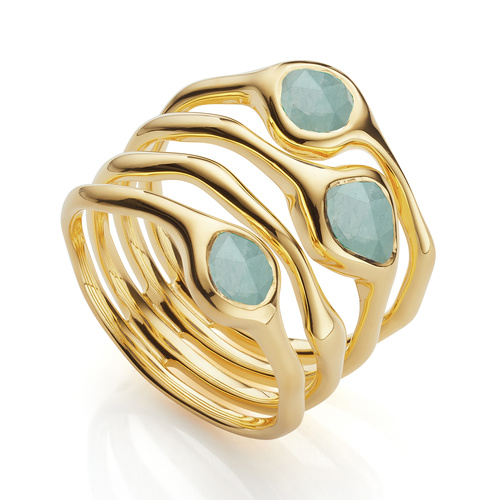 Gold Vermeil Siren Cluster Cocktail Ring - Aquamarine - Monica Vinader