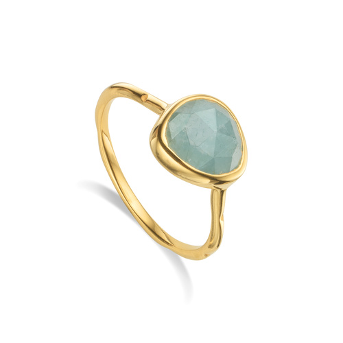 Gold Vermeil Siren Stacking Ring - Aquamarine - Monica Vinader