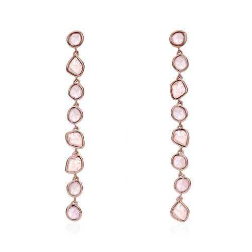 Rose Gold Vermeil Siren Mini Nugget Cocktail Earrings - Rose Quartz - Monica Vinader
