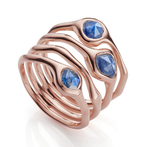 Rose Gold Vermeil Siren Cluster Cocktail Ring - Kyanite - Monica Vinader