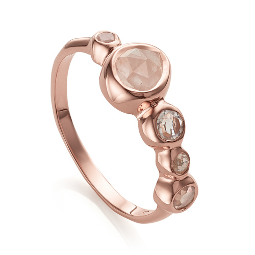 Rose Gold Vermeil Siren Tonal Half Eternity Ring - Mix - Monica Vinader