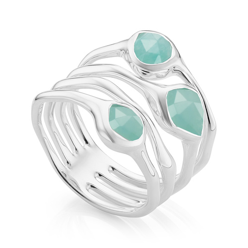 Sterling Silver Siren Cluster Cocktail Ring - Amazonite - Monica Vinader