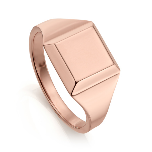 Rose Gold Vermeil Signature Signet Ring - Monica Vinader