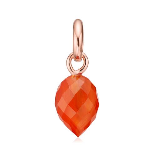 Rose Gold Vermeil Fiji Bud Gemstone Pendant Charm - Orange Carnelian - Monica Vinader