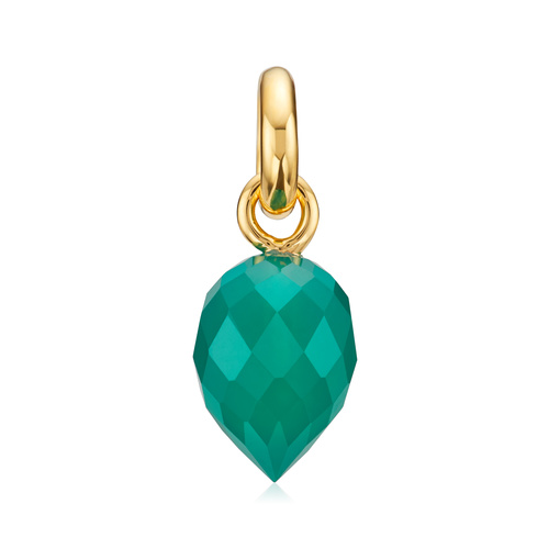 Gold Vermeil Fiji Bud Gemstone Pendant Charm - Green Onyx - Monica Vinader