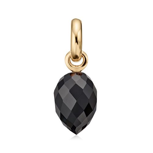 Gold Vermeil Fiji Bud Gemstone Pendant Charm - Black Onyx - Monica Vinader