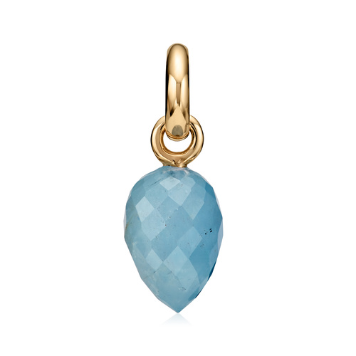 Gold Vermeil Fiji Bud Gemstone Pendant Charm - Aquamarine - Monica Vinader