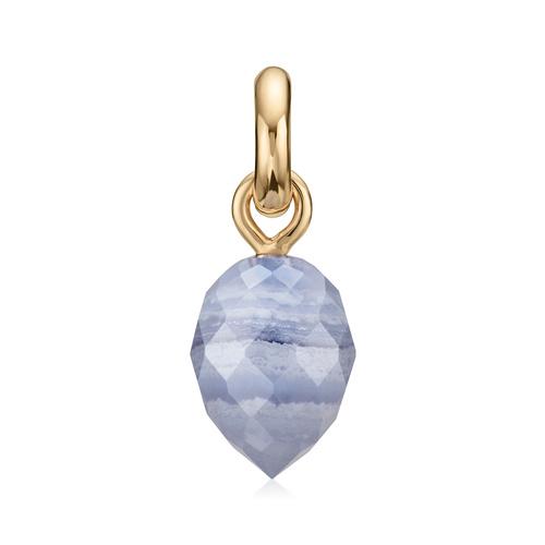 Gold Vermeil Fiji Bud Gemstone Pendant Charm - Blue Lace Agate - Monica Vinader