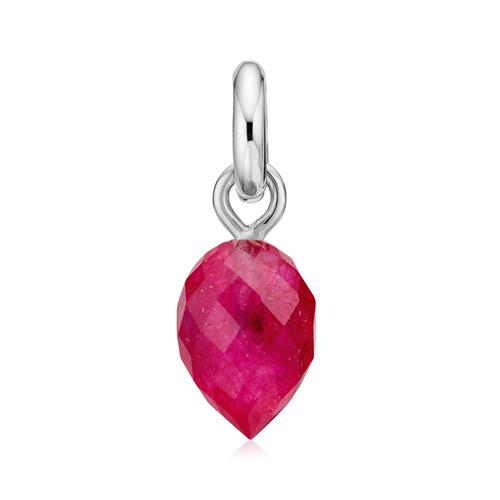Sterling Silver Fiji Bud Gemstone Pendant Charm - Pink Quartz - Monica Vinader