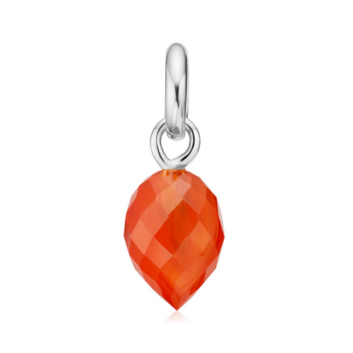 Sterling Silver Fiji Bud Gemstone Pendant Charm - Orange Carnelian - Monica Vinader