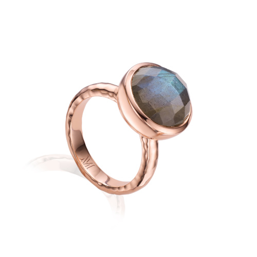 Rose Gold Vermeil Medina Facet Ring - Labradorite - Monica Vinader