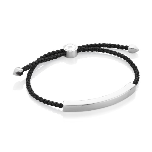 Sterling Silver Linear Large Men's Friendship Bracelet - Black - Monica Vinader