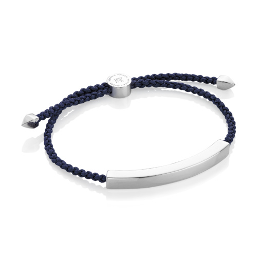 Sterling Silver Linear Large Men's Friendship Bracelet - Denim Blue - Monica Vinader