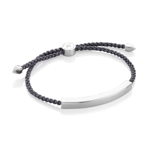 Sterling Silver Linear Large Men's Friendship Bracelet - Steel Grey - Monica Vinader