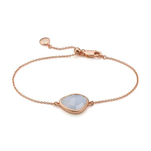 Rose Gold Vermeil Siren Nugget Bracelet - Blue Lace Agate - Monica Vinader