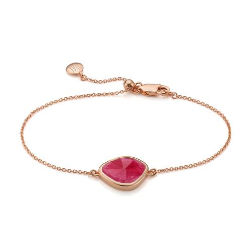 Rose Gold Vermeil Siren Nugget Bracelet - Pink Quartz - Monica Vinader