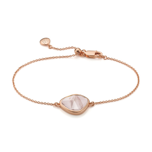 Rose Gold Vermeil Siren Nugget Bracelet - Rose Quartz - Monica Vinader