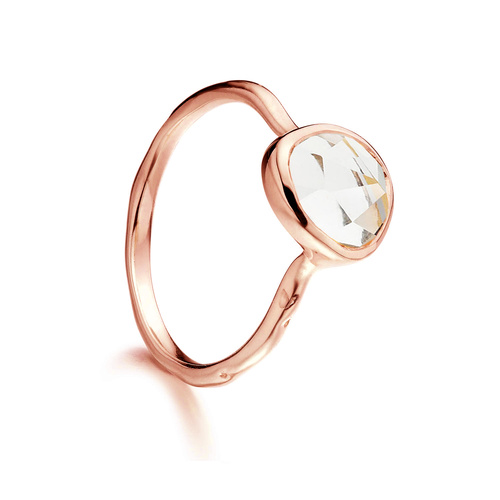 Rose Gold Vermeil Siren Ring - Rock Crystal - Monica Vinader