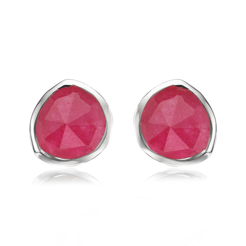 Sterling Silver Siren Stud Earrings - Pink Quartz - Monica Vinader