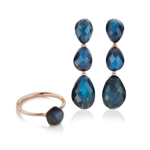 Nura Gemstone Earrings and Ring Set - Labradorite - Monica Vinader