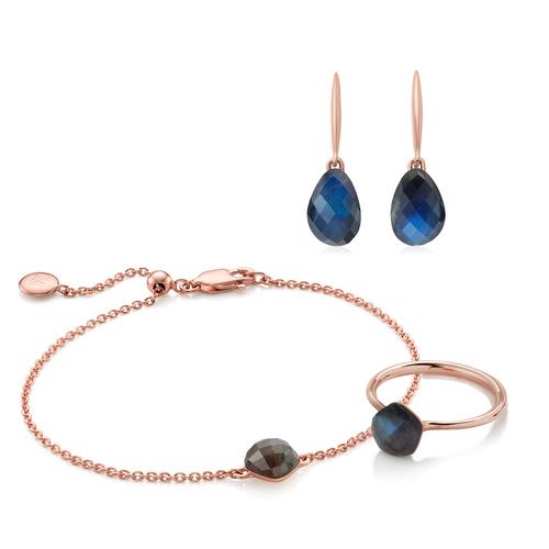 Nura Gemstone Earrings, Ring and Bracelet Set - Labradorite - Monica Vinader