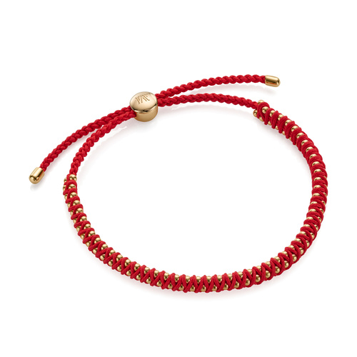 Gold Vermeil Rio Mini Friendship Bracelet - Coral - Monica Vinader