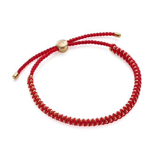Gold Vermeil Rio Mini Friendship Bracelet - Coral - Monica Vinader
