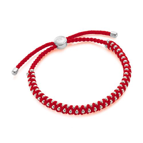 Sterling Silver Rio Friendship Bracelet - Coral - Monica Vinader