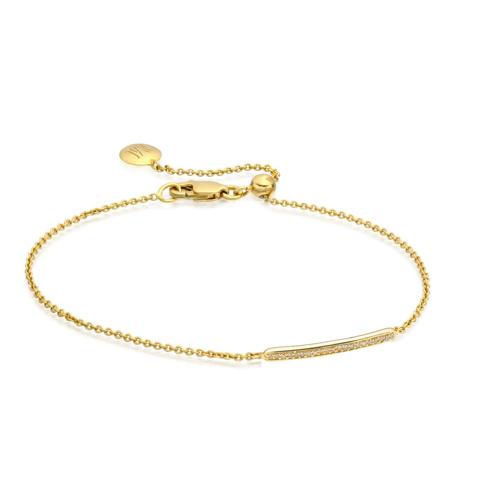 Gold Vermeil Skinny Pave Bar Chain Bracelet - Champagne Diamond - Monica Vinader