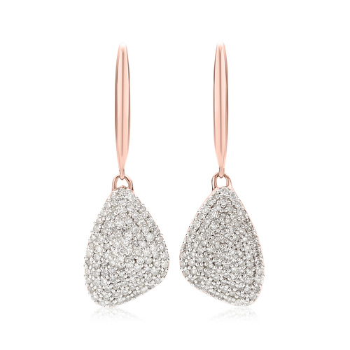 Rose Gold Vermeil Nura Teardrop Diamond Earrings - Diamond - Monica Vinader