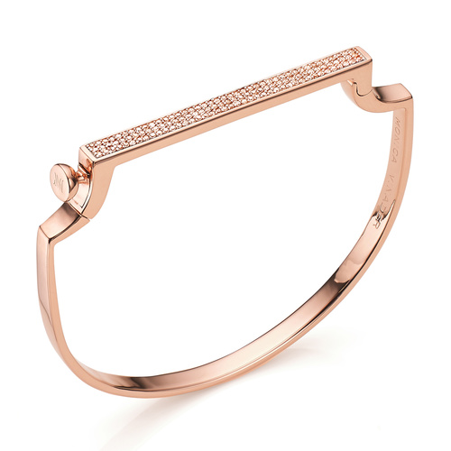 Rose Gold Vermeil Signature Thin Diamond Bangle - Champagne Diamond - Monica Vinader
