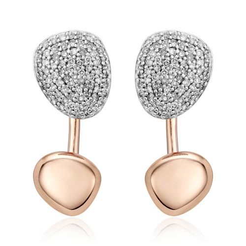 Rose Gold Vermeil Nura Pebble Jacket Earrings - Diamond - Monica Vinader