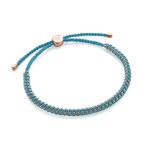 Rose Gold Vermeil Rio Mini Friendship Bracelet - Sky Blue - Monica Vinader