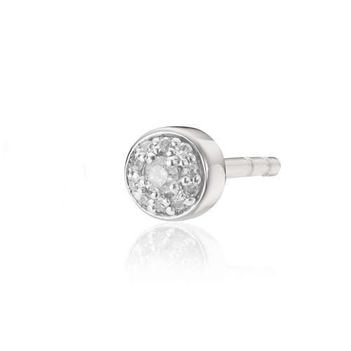 Sterling Silver Fiji Tiny Button Stud Diamond Single Earring - Diamond - Monica Vinader
