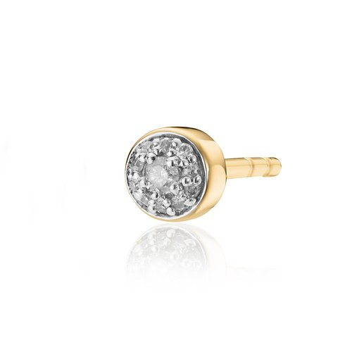 Gold Vermeil Fiji Tiny Button Stud Diamond Single Earring - Diamond - Monica Vinader