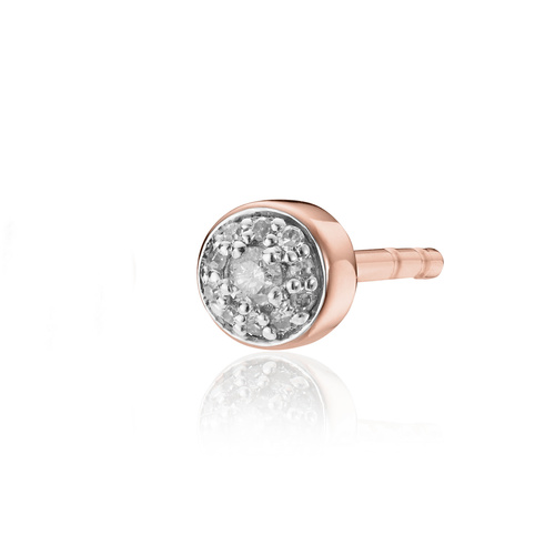 Rose Gold Vermeil Fiji Tiny Button Stud Diamond Single Earring - Diamond - Monica Vinader
