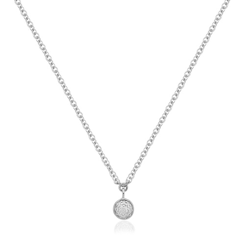Sterling Silver Fiji Tiny Button Single Drop Diamond Necklace - Diamond - Monica Vinader