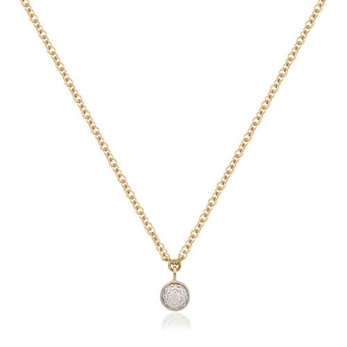 Gold Vermeil Fiji Tiny Button Single Drop Diamond Necklace - Diamond - Monica Vinader
