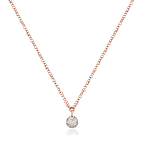 Rose Gold Vermeil Fiji Tiny Button Single Drop Diamond Necklace - Diamond - Monica Vinader