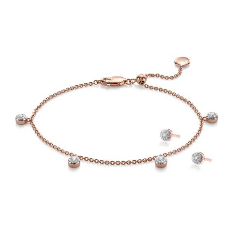 Rose Gold Vermeil Fiji Tiny Button Earring and Bracelet Set - Monica Vinader