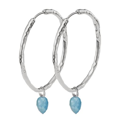 Siren Muse Large Hoop and Fiji Bud Earring Set-Aquamarine - Monica Vinader
