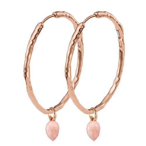 Siren Muse Large Hoop and Fiji Bud Earring Set-Pink Opal - Monica Vinader