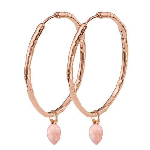 Siren Muse Large Hoop and Fiji Bud Earring Set-Pink Opal - Monica Vinader