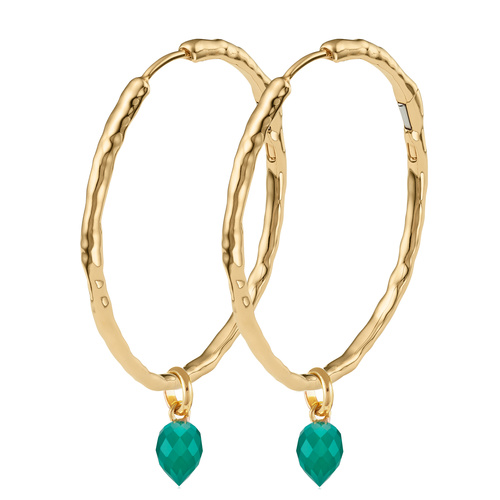 Siren Muse Large Hoop and Fiji Bud Earring Set- Green Onyx - Monica Vinader