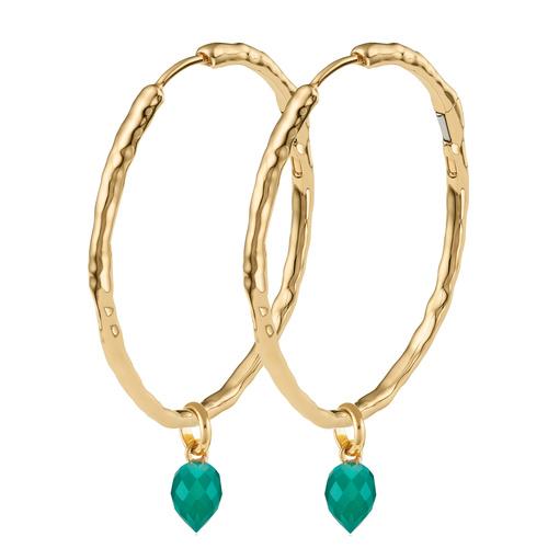 Siren Muse Large Hoop and Fiji Bud Earring Set- Green Onyx - Monica Vinader