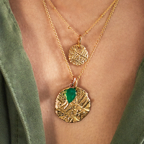 Gold Vermeil Fiji Bud and Siren Coin Necklace Set - Monica Vinader
