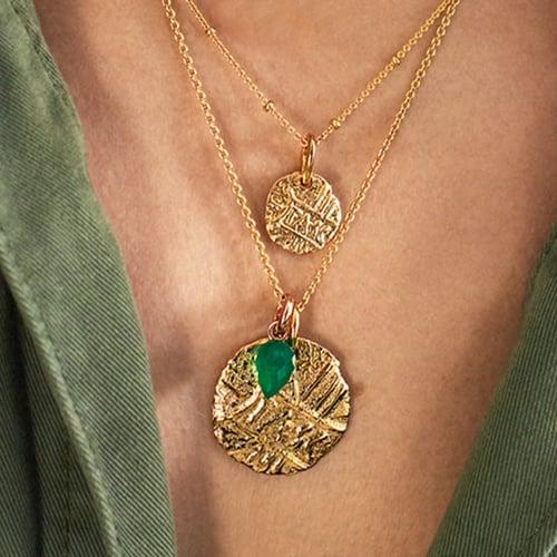 Gold Vermeil Fiji Bud and Siren Coin Necklace Set - Monica Vinader